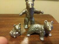 """Wilton Armetale 3 Bears Papa, Mama & Baby 2"""" to 4"""" EXC"""