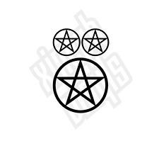 Pentagram circled vinyl sticker decal car window laptop ipad set wiccan