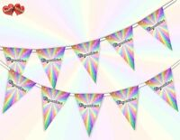 Congratulations Rainbow Sparkle Bunting Banner 15 flags by PARTY DECOR