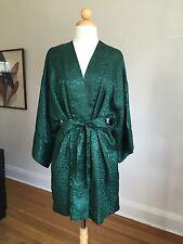 FLAWLESS VTG Lingerie CACIQUE Deep Green Silky Short Kimono Robe SZ P/S Mint!