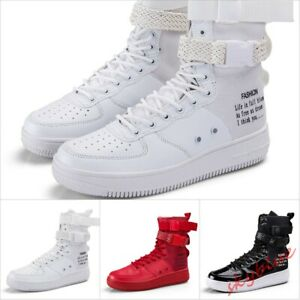 Mens High Top Sneakers Buckle Strap Fashion skateboard shoes Punk High Top Shoes