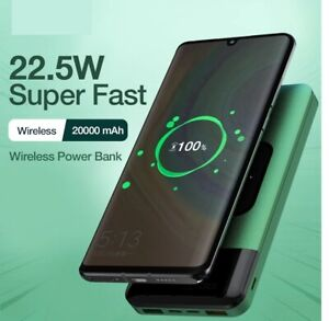Power Bank 20000mAh Wireless Charger Fast Charging Portable Smartphone External