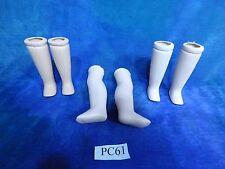 Vintage Antique Bisque Doll Legs 6p Repair Lot PC61