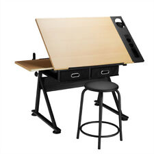 Adjustable Drafting Drawing Craft Table Art Desk With Storage Drawers Black