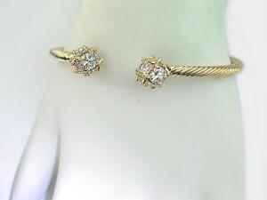SALE! Twisted Rope Gold Rigid Cuff Bangle /18k gold Filled / Crystal Cuff bangle
