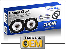 Honda Civic Front Door speakers Alpine car speaker kit with Adapter Pods 200W