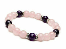 Natural 8mm Rose Quartz & Faceted Amethyst Round Gemstone Bracelet 7.5'' AAA+