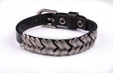 BL35 Black Rock Punk Unisex Women Men Wristband Metal Studded Leather Bracelet