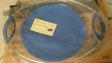 """Pampered Chef Acrylic Serving Tray Plate Blue/Clear 13.5"""" #2283 Grip Pad NIB"""