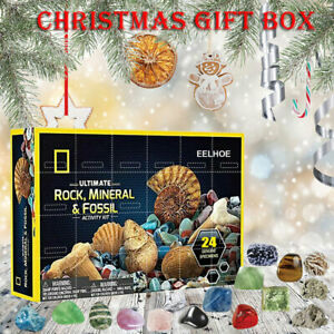 Healing Crystal Advent Calendar With Rock Collections Pebbles Christmas Gift AU