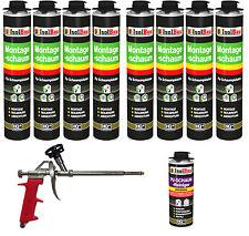 SET Pistolenschaum 8 x 750 ml + 1  Metall Schaumpistole + 1 Reiniger Bauschaum
