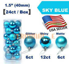 24 CT Shatterproof Christmas Ornament Balls Tree Hanging Wedding Decor SKY BLUE