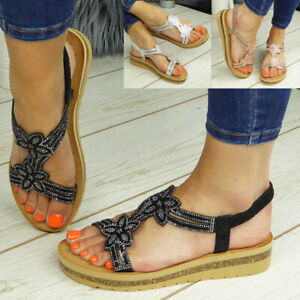 Sandals Ladies Shoes Summer Womens Elastic Open Toe Wedge Bling Casual Comfy Siz