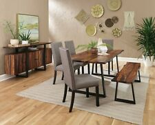RUSTIC SOLID WOOD DINING TABLE BENCH & GREY LINEN LIKE CHAIRS FURNITURE SET