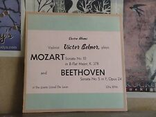 VICTOR BELMOR PLAYS MOZART BEETHOVEN -ELECTRA LP MGJ 4713 LIONEL DE LEON HEIFETZ