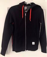 CONVERSE ALL STAR Sportswear Funnel Neck Full Zip Black Hoodie Sweater Sz XS/ P