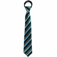 New Kids Boys Zipper Adjustable Pre-tied Necktie Turquoise Black Gold Stripes
