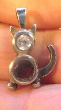 Vintage Sterling Silver Hanging Cat Pendant or Charm