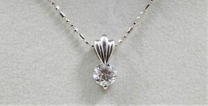 "Platinum 900  0.51CT Round Cut Diamond Solitaire Pendant 14KW Gold 16"" Chain"