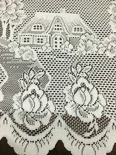 Cafe Lace Curtain Beautiful -Country Cottage 30 cm plus 60 cm Drop -White