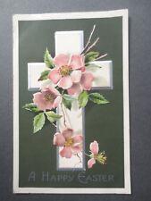 ANTIQUE Easter Greetings Postcard Davidson Bros Embossed Cross Apple Blossom OLD