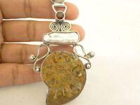 Fossil Ammonite Biwa Pearl Garnet 925 Sterling Silver Pendant