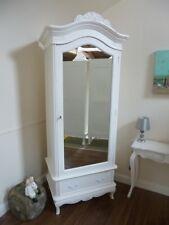French Charroux Single Armoire Wardrobe In White - Mirrored Single Wardrobe