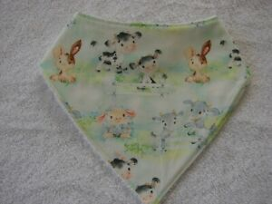Farm Animals Bandana Dribble Bibs Cotton Front Towelling Back Handmade