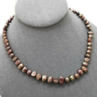 "Freshwater Pearl Beaded Strand Necklace 16"" Brown Cultured Handmade Artisan Dyed"