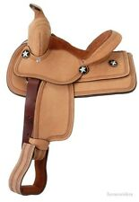 10 Inch Western Saddle - Children's Youth Bobcat - Roughout Leather - Suede Seat