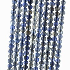 5MM BERMUDAN BLUE IOLITE GEMSTONE GRADE A ROUND LOOSE BEADS 16""