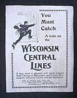 "(775L)RAILROAD WISCONSIN CENTRAL LINES RAILWAY 1896 TRAIN ADVERT REPRINT 11""X14"""