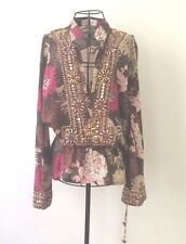 Monique Leshman Brown & Pink Floral Embellished Long Sleeve Coverup Top Sz M EUC
