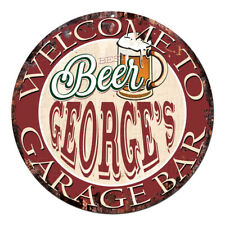 Cpbg-0016 Beer George'S Garage Bar Chic Tin Sign Man Cave Decor Gift Ideas