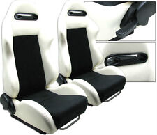 2 PCS WHITE & BLACK RACING SEATS RECLINABLE BMW NEW **