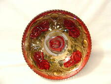 "GOOFUS BOWL INDIANA GLASS  ROSES LATTICE GOLD RED 8 3/4"" DIA VINTAGE"