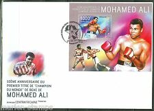 CENTRAL AFRICA  50th ANNIVERSARY OF  MUHAMMAD ALI WORLD TITLE  S/SHEET FDC