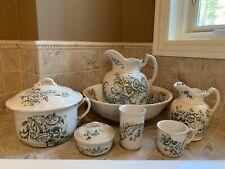 New listing Vintage Maddocks Lamberton Royal Porcelain Pitcher Basin 10-Piece Set -Amazing!