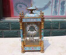 European Retro Bronze cloisonne Mechanical clockwork Swing Table Clock Timepiece