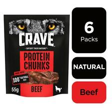 6 x 55g Crave Protein Chunks Natural Meaty Dog Treats with Beef