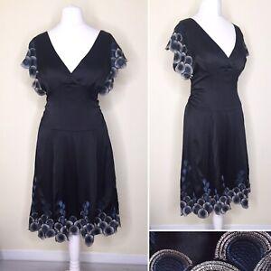 Karen Millen Dress UK 12 Black 100% SILK Embroidery V Neck Cap Sleeve Formal