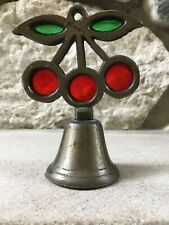 Vintage Stained Glass Pewter Bell