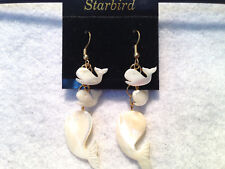 WHITE MOTHER OF PEARL CARVED WHALE DANGLE EARRINGS 80's VINTAGE