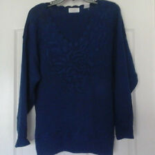 LADIES HONORS LONG SLEEVE - HEAVY KNIT SWEATER - SCALLOPED V-NECK - BLUE ,SIZE M