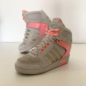 Adidas Neo Women's Silver/Pink Super Wedge Hi Top Trainers Size UK 5 EU 38 RARE!