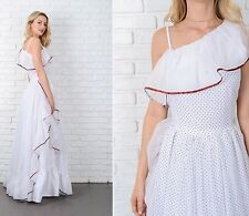Vintage 70s White + Black Polka Dot Dress Maxi Boho Cocktail Small S