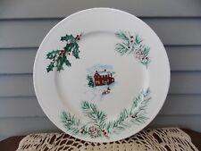 "Vintage Farberware White Christmas #2118 China Round Chop Plate 12"" Platter"