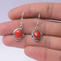 Coral Gemstone Indian Handmade Jewelry 925 Solid Sterling Silver Dangle Earrings