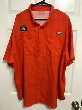 Houston Astros Men Orange Vented Button Front Short Sleeve Pfg Fishing Shirt