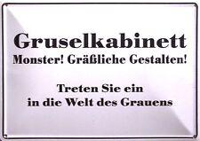Gruselkabinett Funschild Fun Schild Blechpostkarte Blechschild 10,5 x 14,8 cm